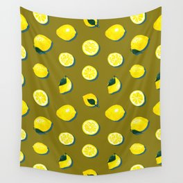 60s Lemon Pattern on Olive Wall Tapestry