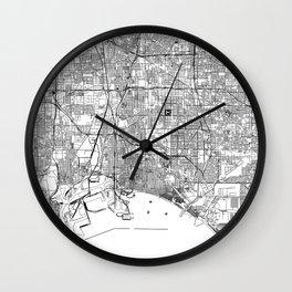 Long Beach White Map Wall Clock