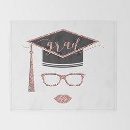 Grad modern typography & academic cap Throw Blanket