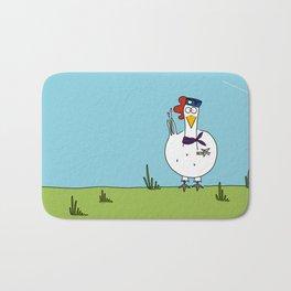 Eglantine la poule (the hen) dressed up as an air hostess Bath Mat