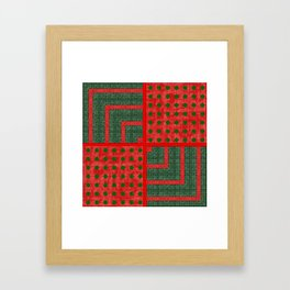 Christmas Green Woven Pattern with Red Dots Framed Art Print