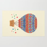hot air balloon Area & Throw Rugs featuring Hot Air Balloon by haidishabrina