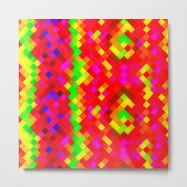 Yellow Red Green Bright Squares Metal Print