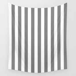 Narrow Vertical Stripes - White and Gray Wall Tapestry