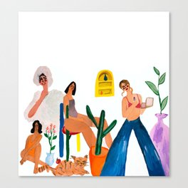 Girls with cat Canvas Print
