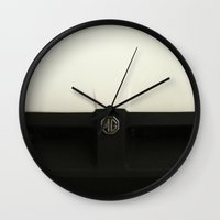 1975 Wall Clocks featuring MG MGB 1975 by Barbo's Art