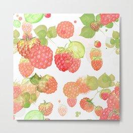 Strawberry Summer Pattern Metal Print