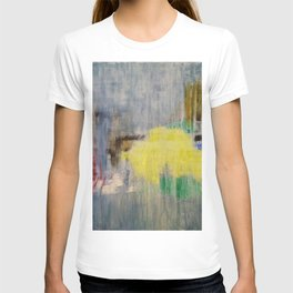 Rainy Day Grey, Rain, Water, Car, Abstract, Blue, Painting by Jodi Tomer T-shirt