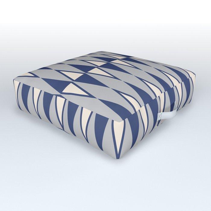 Mid Century Modern Diamond Pattern Blue and Gray 232 Outdoor Floor Cushion