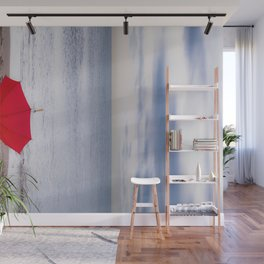 Red Umbrella at the beach Wall Mural