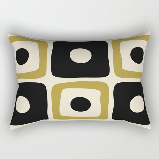 Mid Century Modern Square Dot Pattern 592 Black and Gold by tonymagner