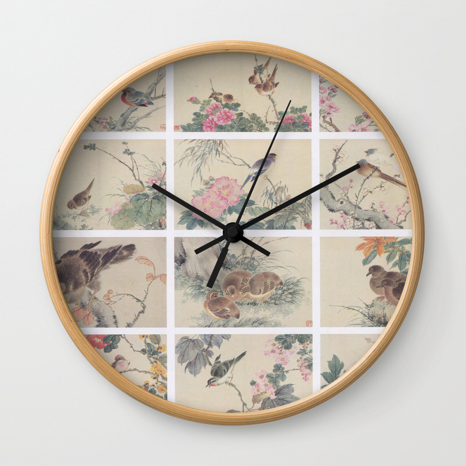 Chinese Painting Birds Flowers Wall Clock