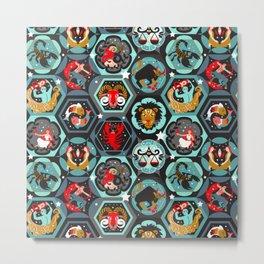 Hexagon zodiacs Metal Print