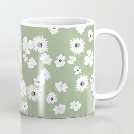 Modern floral on dusty green ground Coffee Mug