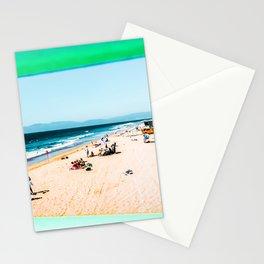 Summer sandy beach at Manhattan Beach, California, USA Stationery Cards