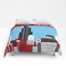 Chicago, Illinois - Skyline Illustration by Loose Petals Comforters