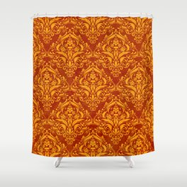 Halloween damask colors #2 Shower Curtain
