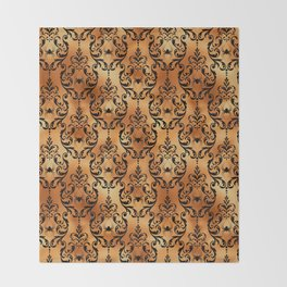 Halloween Black and Gold Design Pattern Throw Blanket