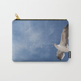Seagull Freedom Flying Beach Seascape Ocean Decor Inspirational Quote Wall Art Lustre Framed Print  Carry-All Pouch