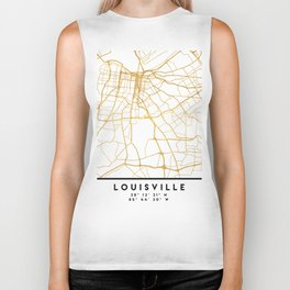 LOUISVILLE KENTUCKY CITY STREET MAP ART Biker Tank
