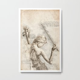 Sexy Women Played Violin Vintage Art Metal Print