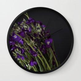 Purple Matthiola Flower Contrast | Nature Photography - Plants & Flowers Wall Clock