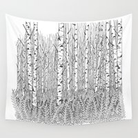 birch Wall Tapestries featuring Birch Trees Black and White Illustration by Vermont Greetings