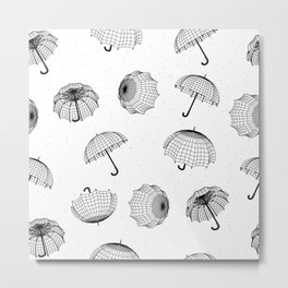 seamless rainy pattern with umbrellas and raindrops Metal Print