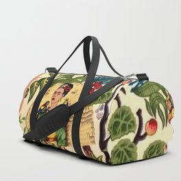 Frida's Garden, Casa Azul Lush Greenery Frida Kahlo Landscape Painting Duffle Bag