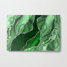 Emerald Green And Silver Marble Waves #society #buyart Metal Print