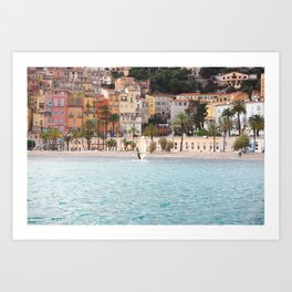 Surfboarding in Menton Art Print