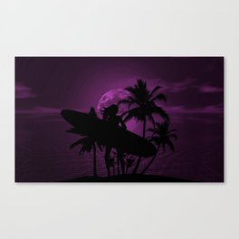 Purple Dusk with Surfergirl in Black Silhouette with Longboard Canvas Print