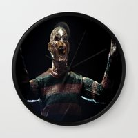 freddy krueger Wall Clocks featuring Freddy Krueger by TJAguilar Photos