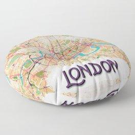 Watercolor Map of London Floor Pillow