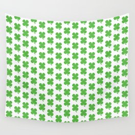Lucky Irish Four Leaf Clovers Pattern Wall Tapestry