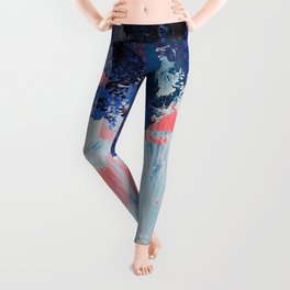 Mixtapes and Bubblegum: a colorful abstract piece in pinks and blues by Alyssa Hamilton Art Leggings