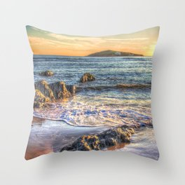 Sunset over Burgh Island from Bantham Throw Pillow