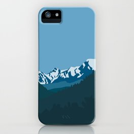 Winter rock picks and green forest, minimalism in nature. iPhone Case