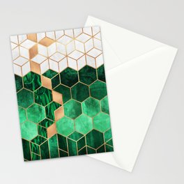Emerald Cubes And Hexagons Stationery Cards