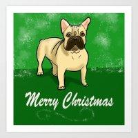 Happy French Bulldog Christmas Art Print