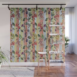 Wild Flowers on Stripes Wall Mural