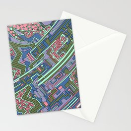 Wandering Abstract Line Art 28: Green Stationery Cards