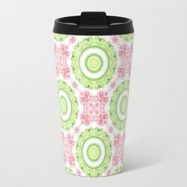 Floral Pattern - Lime Green & Pink Travel Mug