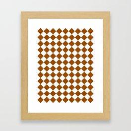 Diamonds - White and Brown Framed Art Print