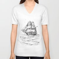 marine V-neck T-shirts featuring marine by ismailburc