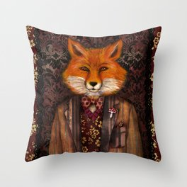 Portrait of the mysterious Lord Fox Throw Pillow
