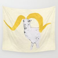 ram Wall Tapestries featuring Ram by Amy Veried