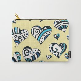 Blue Teal Hearts On Yellow Carry-All Pouch