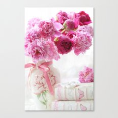 Romantic Pink and Red Peonies Canvas Print