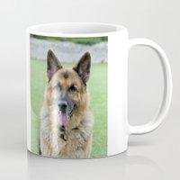 german shepherd Mugs featuring German Shepherd Dog by Karen Arnold